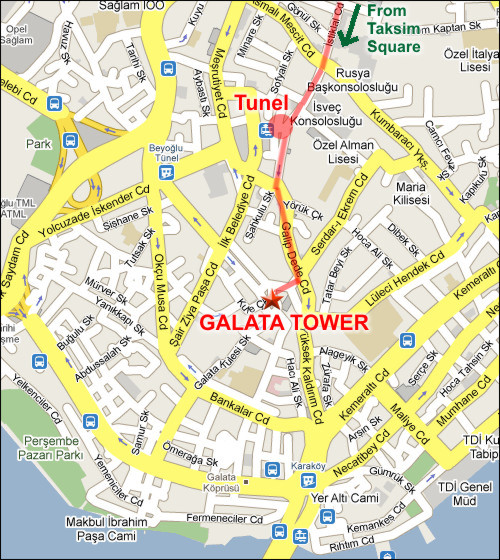 Galata Tower Map